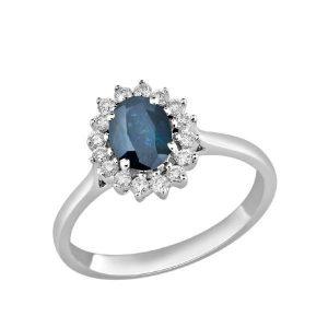 Anillo Diamantes y Zafiro azul