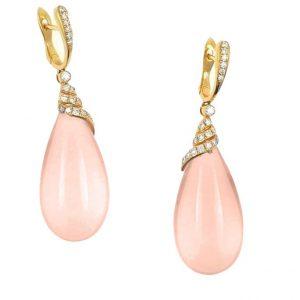 Pendientes de Oro rosa, Diamantes y Coral