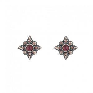 Pendientes estrella SUNFIELD de plata y circonitas