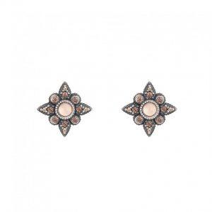 Pendientes SUNFIELD de plata, turmalina rosa y circonitas, de 1,3 cm de diámetro