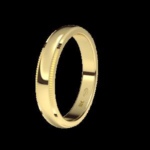 Alianza boda oro amarillo plana Bisel