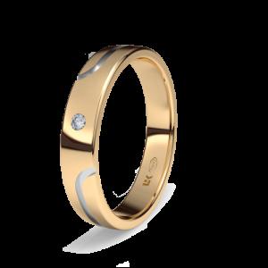 Alianza boda oro bicolor modelo surco