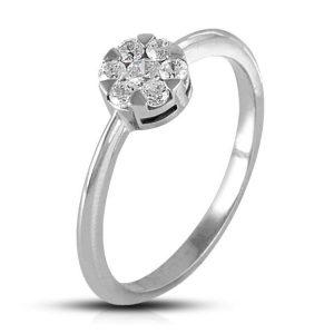 Anillo rosetón orla y centro de Oro blanco y Diamantes