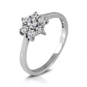 Anillo de Oro blanco y Diamantes rosetón