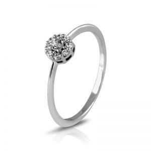 Anillo rosetón estrella de Oro blanco y Diamantes