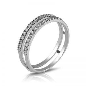 Anillo media alianza garras 15 Diamantes
