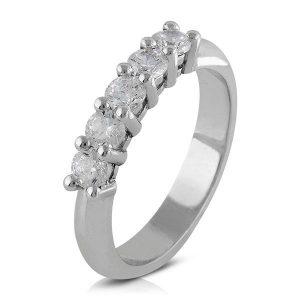 Anillo alianza cinquillo Diamantes garras