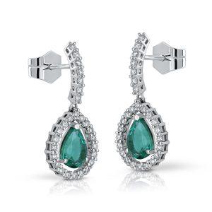 Pendientes Esmeralda y Diamantes largo pavé