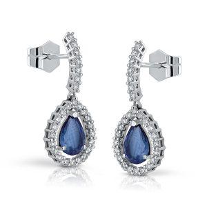 Pendientes Esmeraldas y Diamantes largo pavé