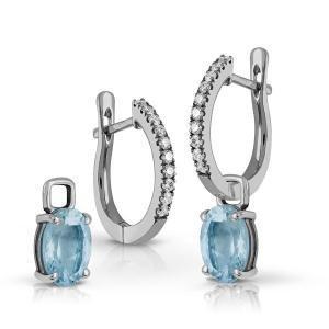 Pendientes criollas de Diamantes y Oro blanco