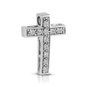 Cruz pavé garras Diamantes Oro blanco
