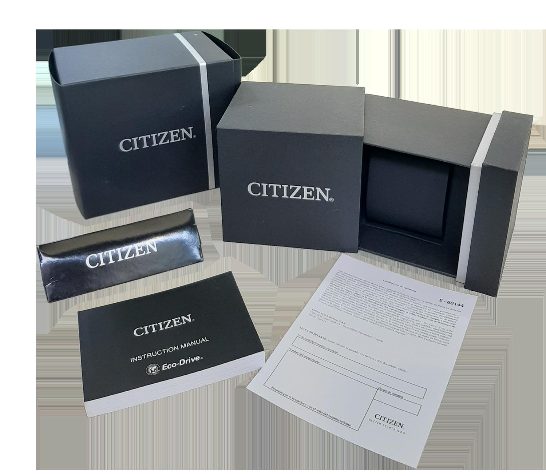 estuche y garantía citizen